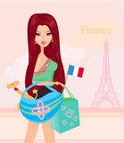 Beautiful travel girl in Paris Stock Images