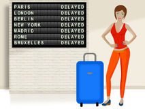 Beautiful travel girl with suitcase. A beautiful travel girl with blue suitcase Stock Photo