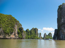 Beautiful travel view in the Halong Bay Vietnam landscape ocean Stock Photos