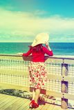 Beautiful  traveler  in retro style Royalty Free Stock Photography