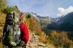 Beautiful traveler. Tatransky narodny park. Vysoke Tatry. Slovakia. stock photo