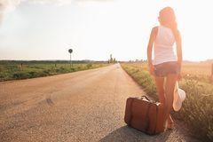 Beautiful traveller girl stock photo