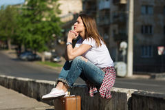 Beautiful traveller Stock Images