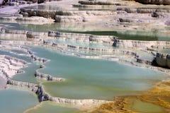 Beautiful travertine cascades, Pamukkale, Turkey Royalty Free Stock Photography