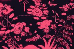 Beautiful tree bird and flowers art paintings color pink and black  illustration pattern background and wallpaper vector illustration