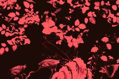 Beautiful tree bird and flowers art paintings color pink and black  illustration pattern background and wallpaper stock illustration