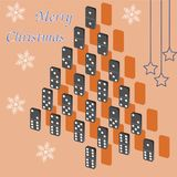 A beautiful tree of dominoes. Christmas card. Stock Images
