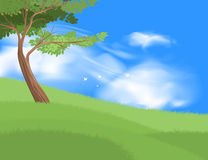 Beautiful tree on grass field scene. Vector nature and landscape over blue sky background Stock Images