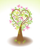 Beautiful tree with green leaves and butterflies Stock Photography
