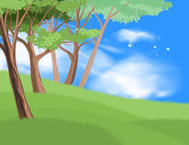 Beautiful tree on hill scene. Beautiful tree on grass field scene vector nature and landscape over blue sky background Stock Photography