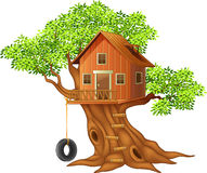 Beautiful tree house cartoon. Illustration of Beautiful tree house cartoon royalty free illustration