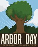 Beautiful Tree View to Celebrate Arbor Day, Vector Illustration. Tall tree in a beautiful view of the forest to celebrate Arbor Day, promoting tree plantation vector illustration