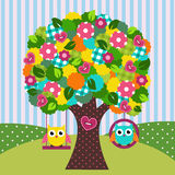 Beautiful Tree With Owls On Swings Stock Photography