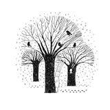 Beautiful trees, birds and rabbit. royalty free illustration