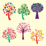 Beautiful trees collection -illustration Royalty Free Stock Photos