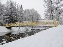 Beautiful trees near river  and bridge in winter, Lithuania Stock Photos