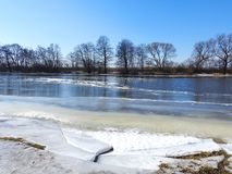 River Minija and nice trees in winter , Lithuania Royalty Free Stock Photos