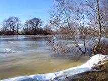 River Minija and nice trees in winter , Lithuania Stock Photos