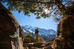 Trekker in lower Himalayas. Beautiful Trekker in lower Himalayas Stock Photo