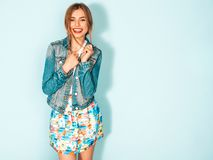 Beautiful Trendy Girl Posing In Studio Stock Images