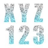Beautiful trendy glitter alphabet letters and numbers with silver to blue ombre. For your decoration Royalty Free Stock Image