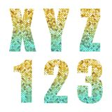 Beautiful trendy glitter alphabet letters and numbers with silver to gold ombre. For your decoration Royalty Free Stock Images