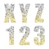 Beautiful trendy glitter alphabet letters and numbers with silver to gold ombre. For your decoration Royalty Free Stock Photos