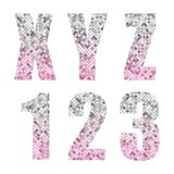 Beautiful trendy glitter alphabet letters and numbers with silver to pink ombre. For your decoration Royalty Free Stock Image