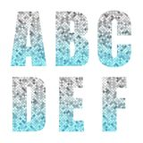 Beautiful trendy glitter alphabet letters with silver to blue ombre. For your decoration Stock Photo