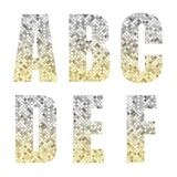 Beautiful trendy glitter alphabet letters with silver to gold ombre. For your decoration Stock Image