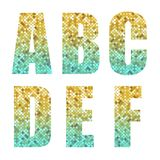 Beautiful trendy glitter alphabet letters with silver to gold ombre. For your decoration Stock Images