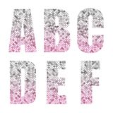Beautiful trendy glitter alphabet letters with silver to pink ombre. For your decoration Royalty Free Stock Images