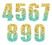 Beautiful trendy glitter alphabet numbers with silver to gold ombre. For your decoration Stock Photo