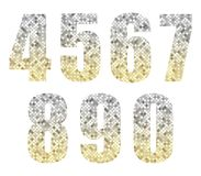 Beautiful trendy glitter alphabet numbers with silver to gold ombre. For your decoration Stock Images