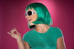 Beautiful trendy lady with green hair Royalty Free Stock Photos
