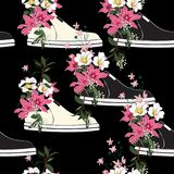 Beautiful and trendy seamless pattern sneaker used as blooming stock illustration