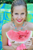 Beautiful trendy woman portrait with watermelon Stock Image