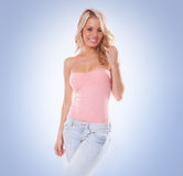Beautiful trendy young blond woman Stock Image