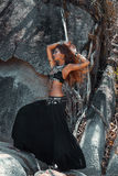 Beautiful tribal style woman dancing outdoors Royalty Free Stock Photos