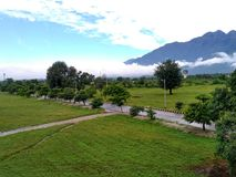 The Beautiful Trikuta Mountains in Katra. The eye soothing view of the holy Trikuta Mountain in Jammu and Kashmir stock images