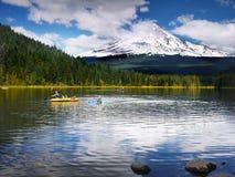 Mount Hood Volcano, Trillium Lake, Oregon USA. Beautiful Trillium Lake and Mt Hood. Campground Summer vacation, Cascade Range, Oregon USA Stock Images