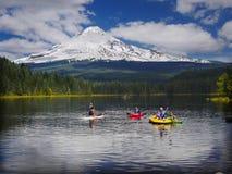 Mount Hood Volcano, Trillium Lake, Oregon USA. Beautiful Trillium Lake and Mt Hood. Campground Summer vacation, Cascade Range, Oregon USA Stock Photos