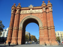 Beautiful Triumphal Arch of Barcelona against vivid blue sky, Spain. Beautiful Triumphal Arch of Barcelona or Arco de Triunfo against vivid blue sky, Spain Stock Photo