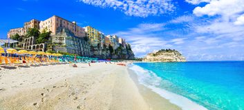 Beautiful Tropea village in Calabria,view with beach and sea. Beautiful Tropea village,Calabria,italy stock images
