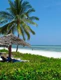 Beautiful tropical beach. Resort in Zanzibar Stock Photos