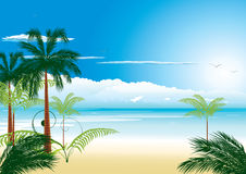 Beautiful tropical beach. With sea-bird and cocnut-palm stock illustration