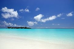 Beautiful tropical beach. With tropical island in the ocean Royalty Free Stock Images