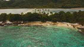 Beautiful tropical beach, aerial view. Tropical island. stock footage