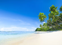 Beautiful Tropical Beach with Blue Sky Stock Photo
