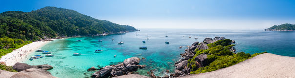Beautiful tropical beach and blue sky background. Panorama Beaut. Iful Seascape or Landscape at similan island, andaman sea, pacific ocean. Similan Island Royalty Free Stock Photography